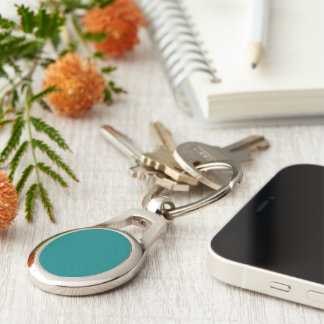 Bluegreen color Silver-Colored oval metal keychain