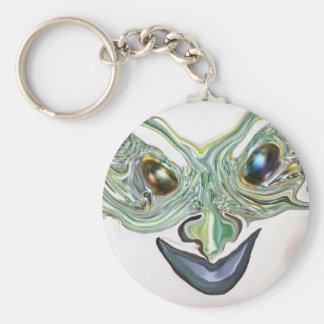 bluegreen happy face basic round button keychain