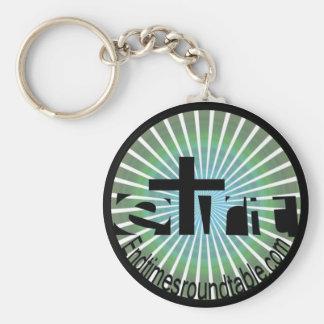 Bluegreen Rays Basic Round Button Keychain