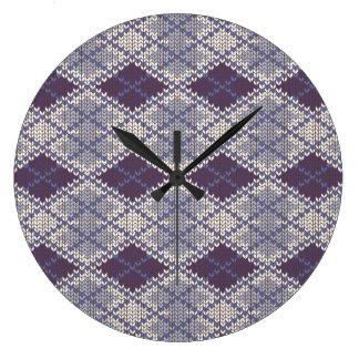 BlueGrey Argyle Knit Round Wall Clock