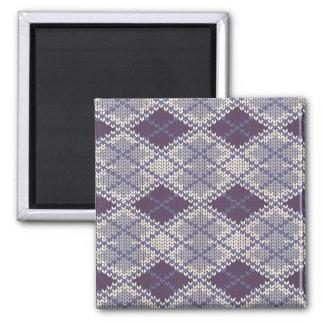 BlueGrey Argyle Knit Square Magnet