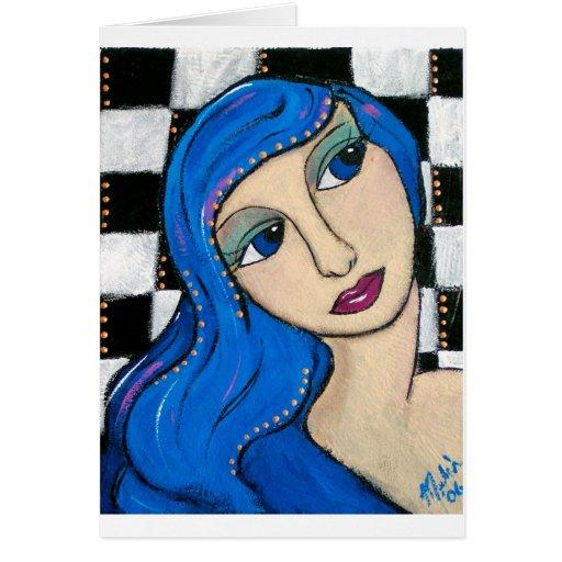 BlueHairGirl Tarjeta De Felicitación