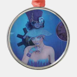 BlueHatHair.jpg Metal Ornament
