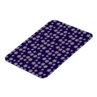 Blueish floral pattern flexible magnet