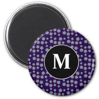 Blueish floral pattern with monogram fridge magnet