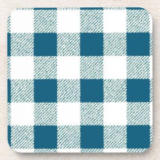 Blueish Gingham Check Pattern Coaster