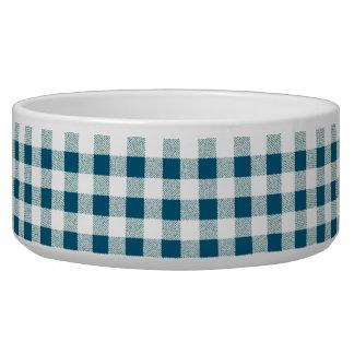 blueish green gingham check pattern bowl