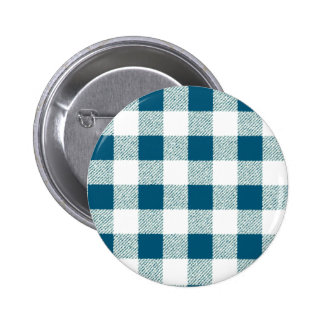 Blueish Green Gingham Check Pattern Button