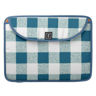Blueish Green Gingham Check Pattern Sleeve For MacBooks