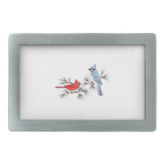 BLUEJAY AND CARDINAL BELT BUCKLE