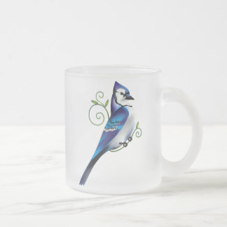 Bluejay Day Frosted Glass Coffee Mug