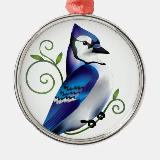 Bluejay Day Round Metal Christmas Ornament