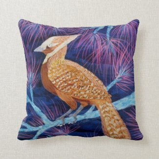Bluejay turned Thrush by Wendy C Allen Throw Pillow