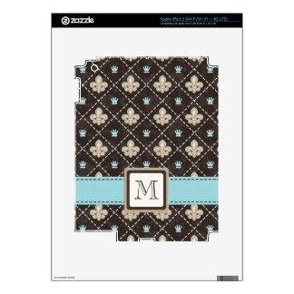 BlueMonogrammed Fleur de Lis iPad 3 Skin