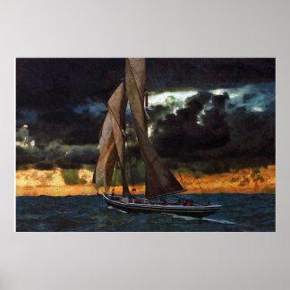 Bluenose antes de la puesta del sol póster