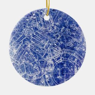 Blueprint Ceramic Ornament
