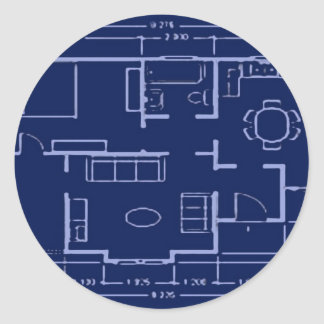 blueprint - house plan classic round sticker