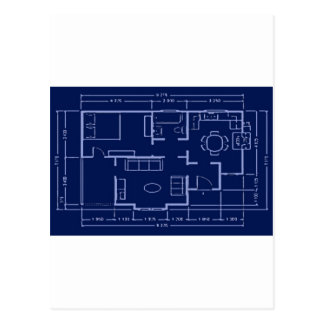blueprint - house plan postcard