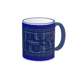 blueprint - house plan ringer coffee mug