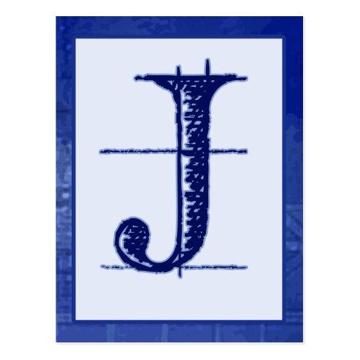 blueprint letter quot j quot typography banner card postcard zazzle