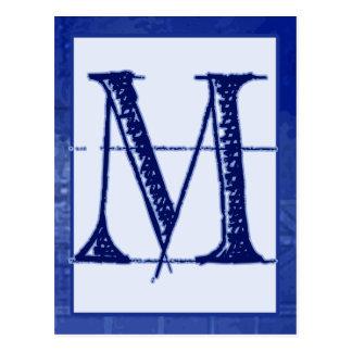 "Blueprint Letter ""M"" Typography Banner Card"