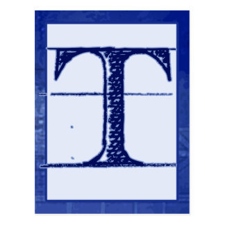 "Blueprint Letter ""T"" Typography Banner Card"