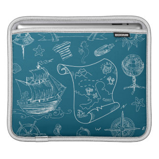 Blueprint Nautical Graphic Pattern Sleeve For iPads