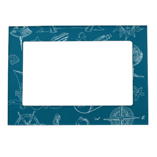 Blueprint Nautical Graphic Pattern Magnetic Picture Frame