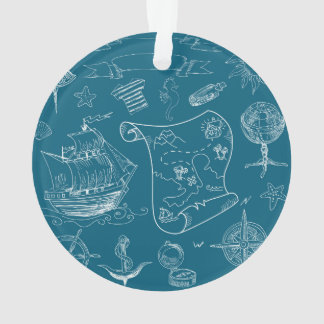 Blueprint Nautical Graphic Pattern Ornament