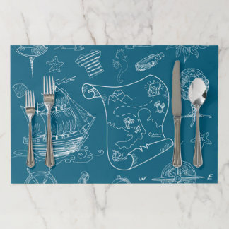 Blueprint Nautical Graphic Pattern Paper Placemat