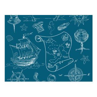 Blueprint Nautical Graphic Pattern Postcard