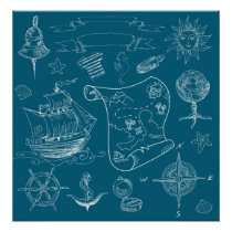 Blueprint Nautical Graphic Pattern Poster