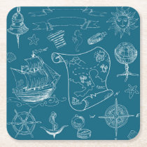 Blueprint Nautical Graphic Pattern Square Paper Coaster