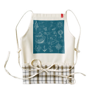 Blueprint Nautical Graphic Pattern Zazzle HEART Apron