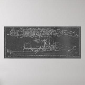 Blueprint of USS Rodney M. Davis FFG-60 Poster