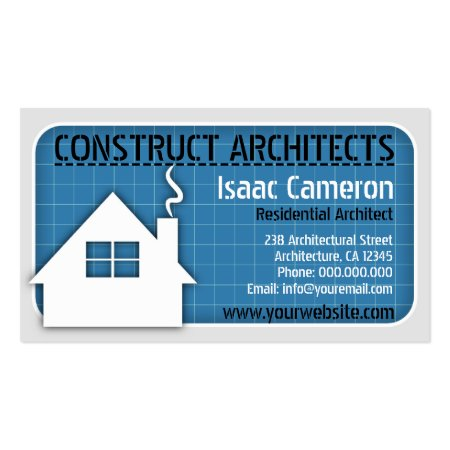 Home Icon and Blueprint Architect Business Cards