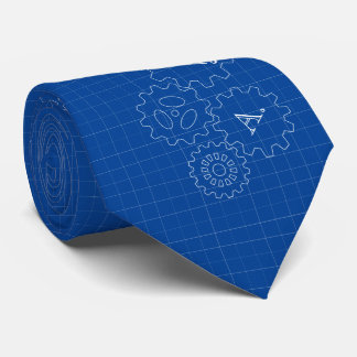 Blueprint Style Engineer Monograms Neck Tie