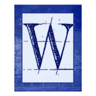 "Blueprint ""W"" Monogram Wedding Invitations"