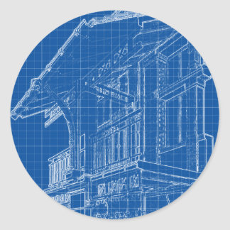 Blueprints of a VIntage House Classic Round Sticker