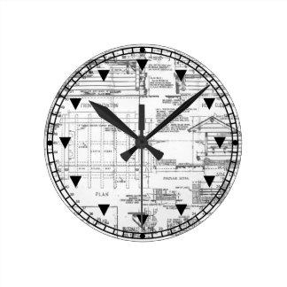 Blueprints Round Clock