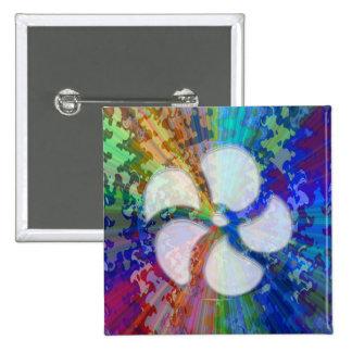 BlueRay Rainbow Floral Chakra Pinback Button