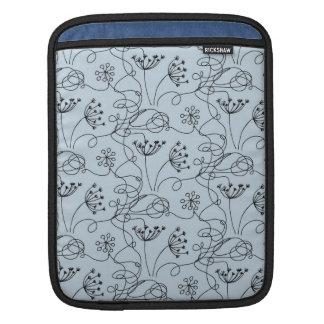Blueridge Doodle Etched Wildflowers Floral Blue iPad Sleeve
