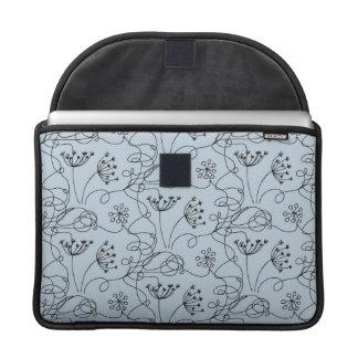 Blueridge Doodle Etched Wildflowers Floral Blue MacBook Pro Sleeves