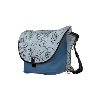 Blueridge Doodle Etched Wildflowers Floral Blue Messenger Bag