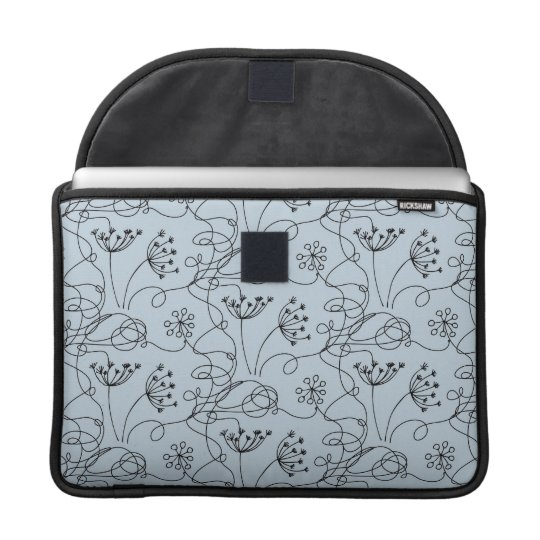Blueridge Doodle Etched Wildflowers Floral Blue Sleeve For MacBook Pro