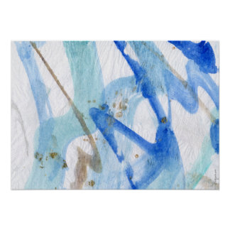 Blues 002 Abstract Watercolor Textured Paper Poster