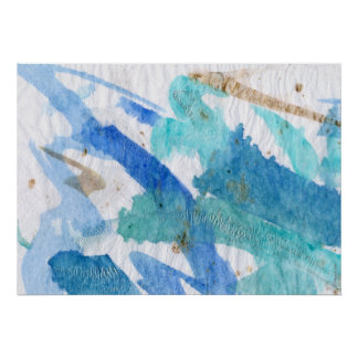 Blues 008 Abstract Watercolor Textured Paper Poster
