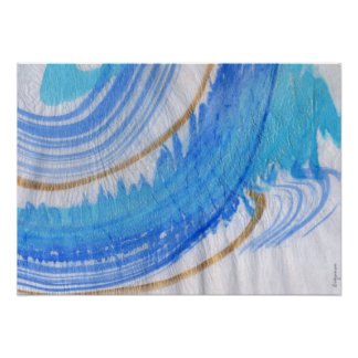 Blues 016 Abstract Watercolor Textured Paper Poster