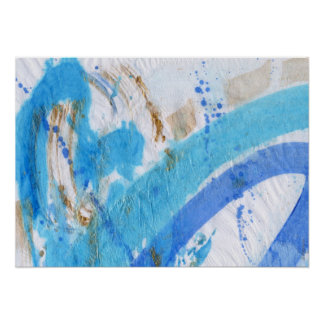 Blues 021 Abstract Watercolor Textured Paper Poster