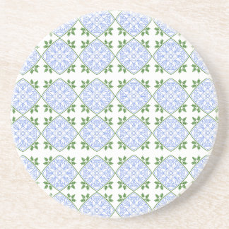Blues and greens abstract art coaster